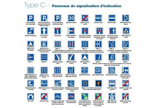 Panneau permanent type C Signaux indications Panoloc
