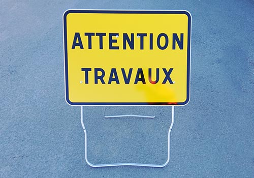 Attention travaux KC1-22P Panneau temporaire en stock Panoloc