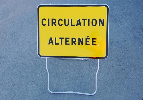 Circulation alternée KC1-CA Panneau rectangle jaune signalisation temporaire