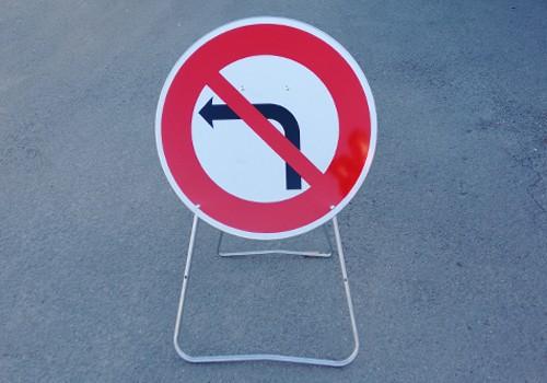 panneau temporaire Interdit de tourner a gauche BK2a Panoloc